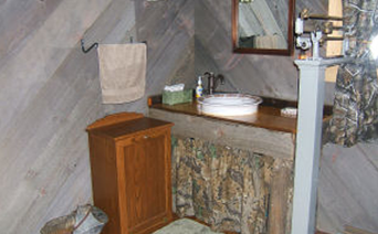 Bathroom inside the 1,100 square foot cabin rental unit.